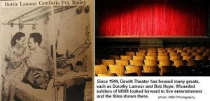 Photo of the Dewitt Theater and newspaper clipping of theater, featuring Dorothy Lamour